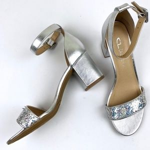 Chinese Laundry Silver Mermaid Sparkle Block Heels